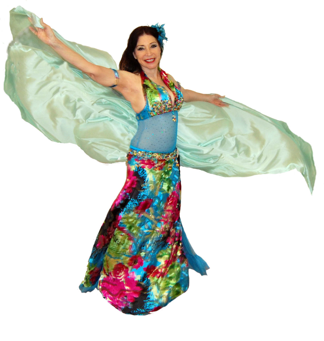 Habiba in multi-colored cabaret costume with mint green silk veil.